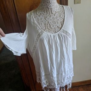 Heartloom White Cold Shoulder Crochet Accent Top
